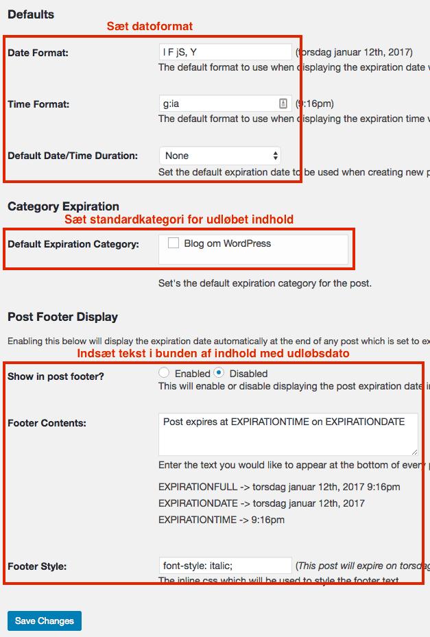 WordPress Post Expirator indstillinger